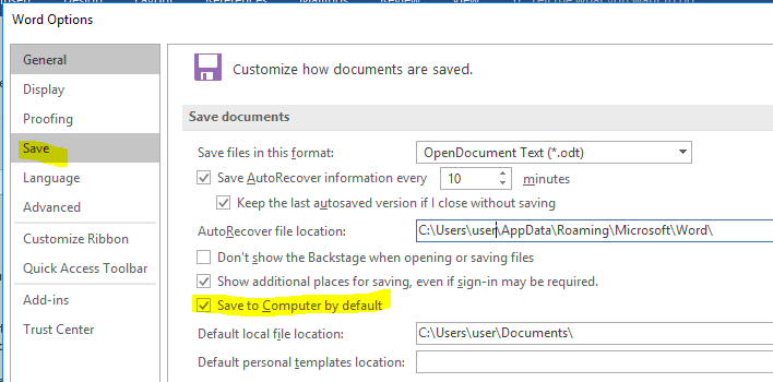 """Microsoft Office setting the default save location to """"This PC"""" instead of OneDrive"""