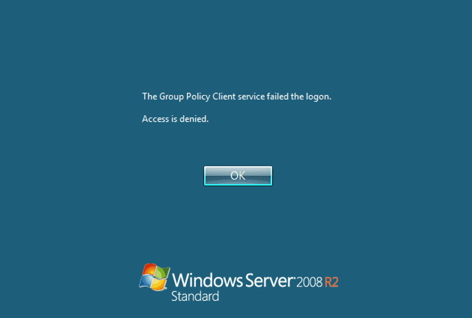 The Group Policy Client service failed the Logon - Access is denied