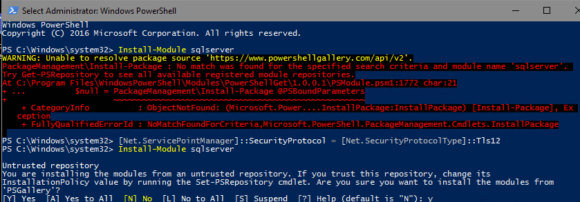 """""""WARNING: Unable to resolve package source 'https://www.powershellgallery.com/api/v2'"""
